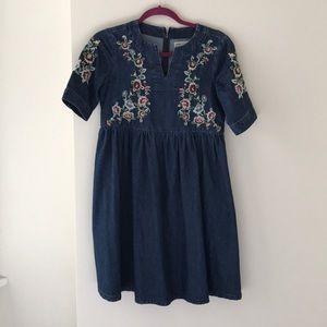 Embroidered denim dress, ASOS. US 4.